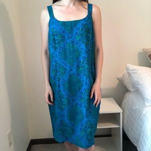Vintage Floral Paisley Tank Fitted Mini Dress s